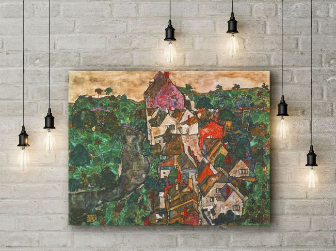 Egon Schiele: Landscape at Krumau. Fine Art Canvas.